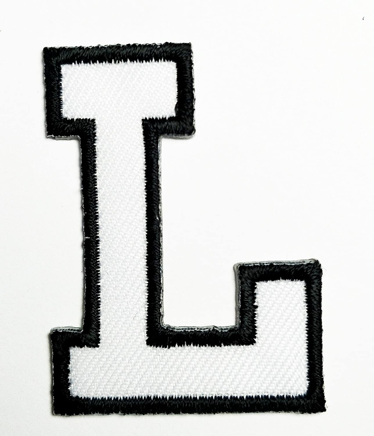 HHO White letter L Patch English Alphabet Character Embroidered DIY Patches, Cute Applique Sew Iron on Kids Craft Patch for Bags Jackets Jeans Clothes