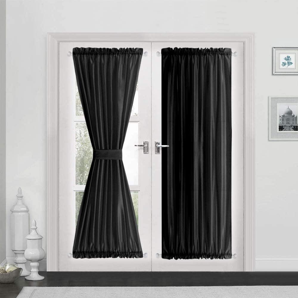 Vangao Rod Poket Curtains 72 inch Length Faux Silk Black French Door Panel Satin Privacy French Door Drapes, 2 Panels, with Bonus Tieback