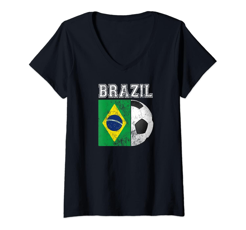 Womens BRAZIL Flag - Soccer Futbol Football V-Neck T-Shirt