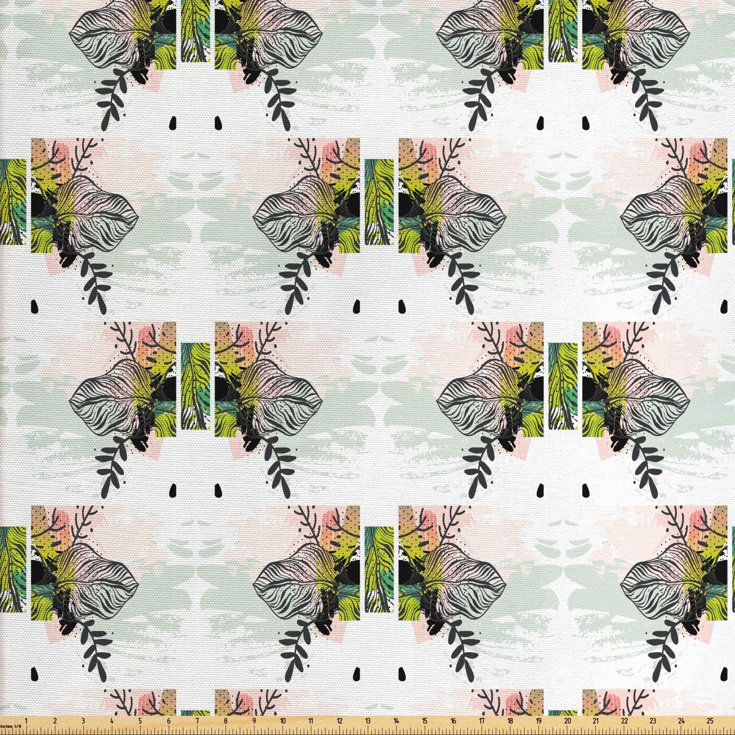 Ambesonne Vintage Tribal Fabric by The Yard, Summer Jungle Inspired Design of Pastel Strokes and Exotic Leaves, Decorative Fabric for Upholstery and Home Accents, 1 Yard, Multicolor
