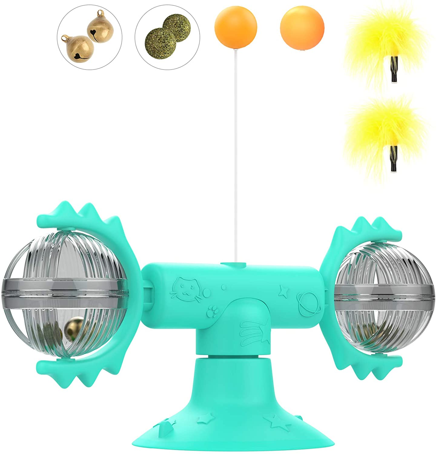 VavoPaw Rotating Windmill Toy & Balls/Teasing Feathers, Turntable Tickle Teasing Interactive Cat Toy with Suction Cup, Funny Kitten Toy Catnip Bells Toy, Lake Blue