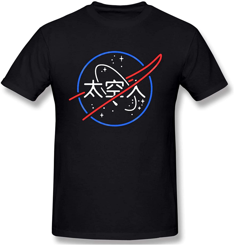 ETFDCDFEW Mens NASA Aesthetic Japanese Neon Logo Short Sleeve T-Shirt