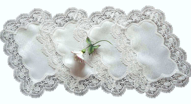 Galleria di Giovanni Royal Rose European Lace White Place Mats Doilies Retangular Set of Four