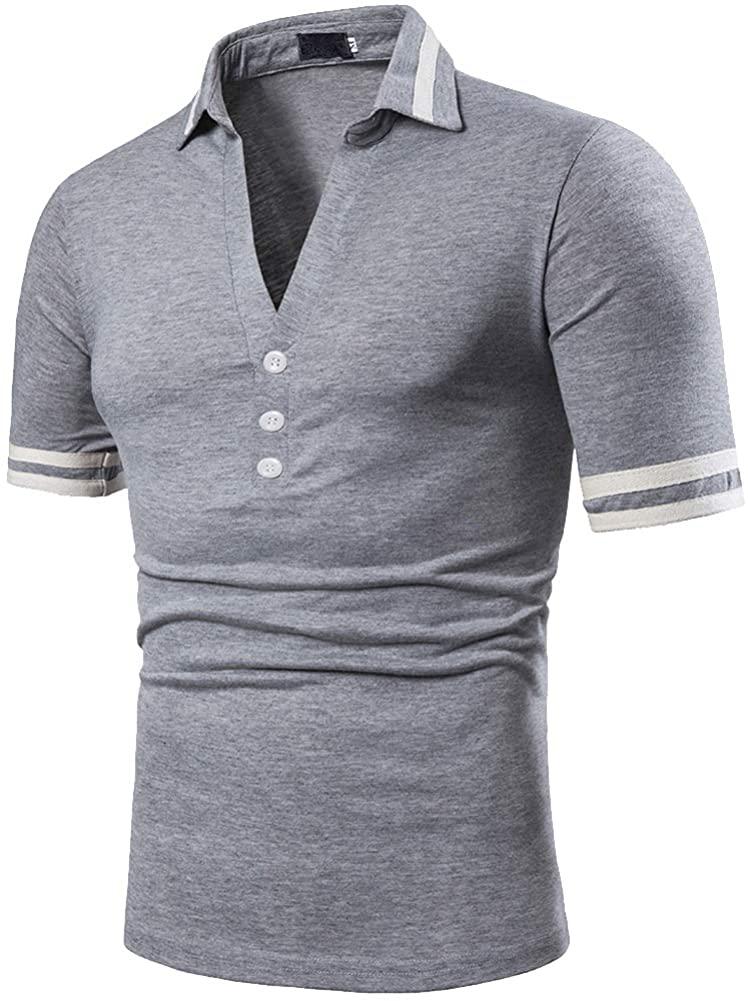 Elegeet Mens V-Neck Striped Collar Sport Polo Shirt