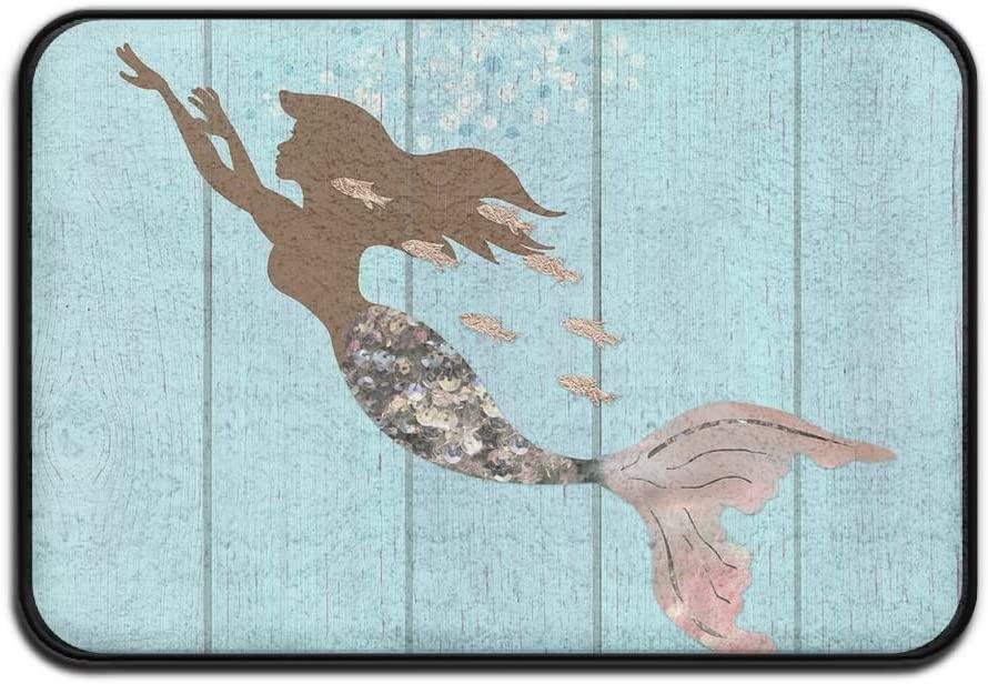 17x24 Inch Memory Foam Bath Mat Non Slip Absorbent Super Cozy Velvet Bathroom Entrance Rug Carpet - Mermaid Rose Gold Fish Wood Pattern Sky Blue