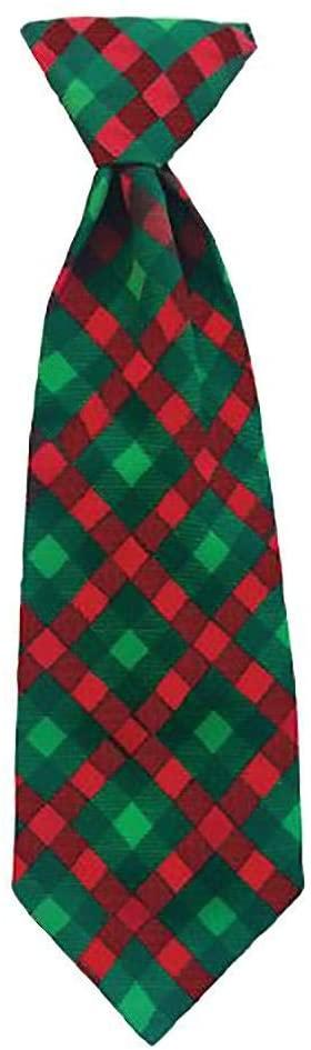 Huxley & Kent Holiday Long Tie Collar Attachment Dog Necktie - Scottish Check