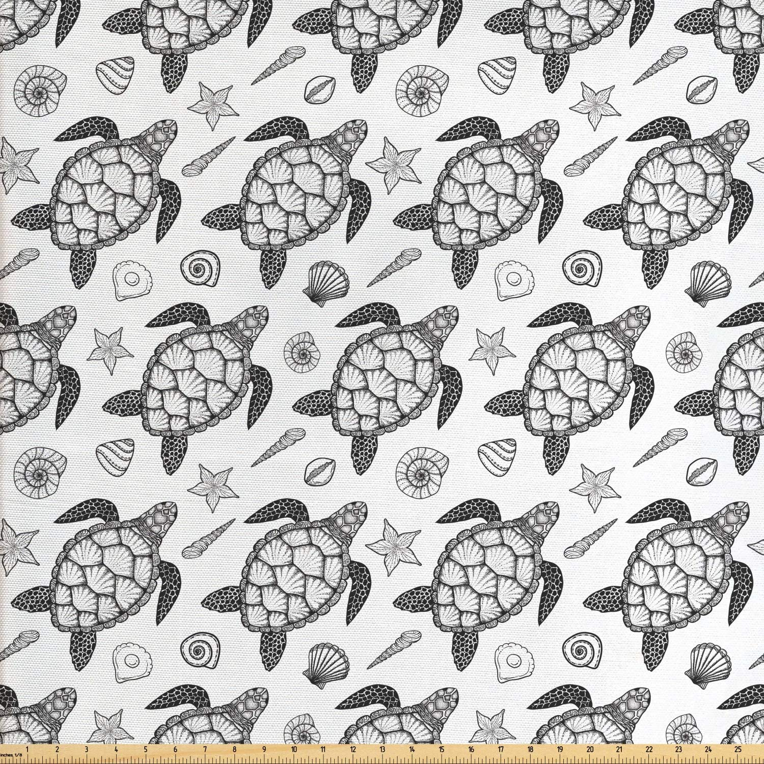 Ambesonne Turtle Fabric by The Yard, Nautical Animals Pattern Sea Turtle Shells and Starfish Monochrome Illustration, Decorative Fabric for Upholstery and Home Accents, Black and White