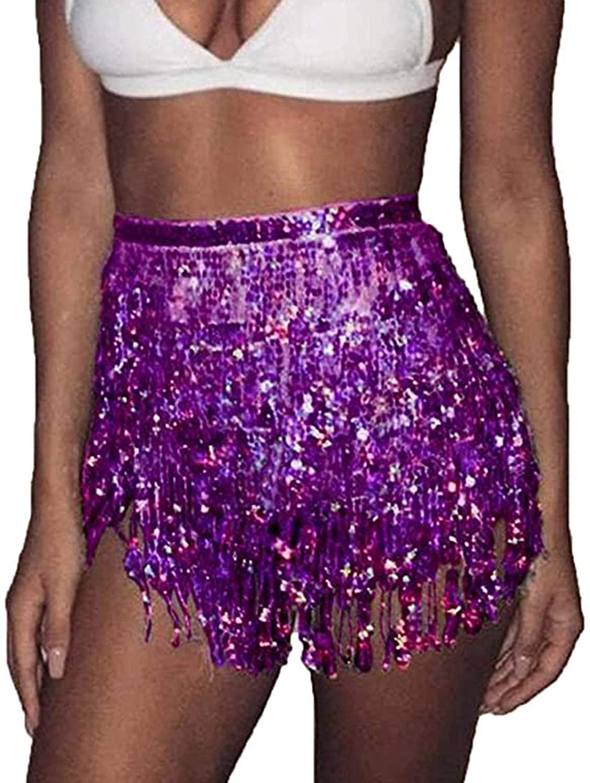 Belly Dance Hip Skirt Tassel Scarf, Boho Sequin Tassel Hip Scarf Costume Performance Skirts for Women