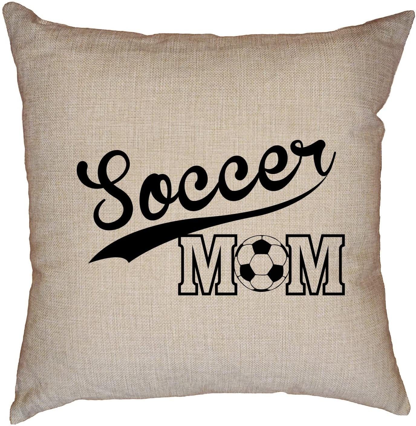Hollywood Thread Soccer Mom - Soccer Ball Banner - Cool Vintage Decorative Linen Throw Cushion Pillow Case with Insert