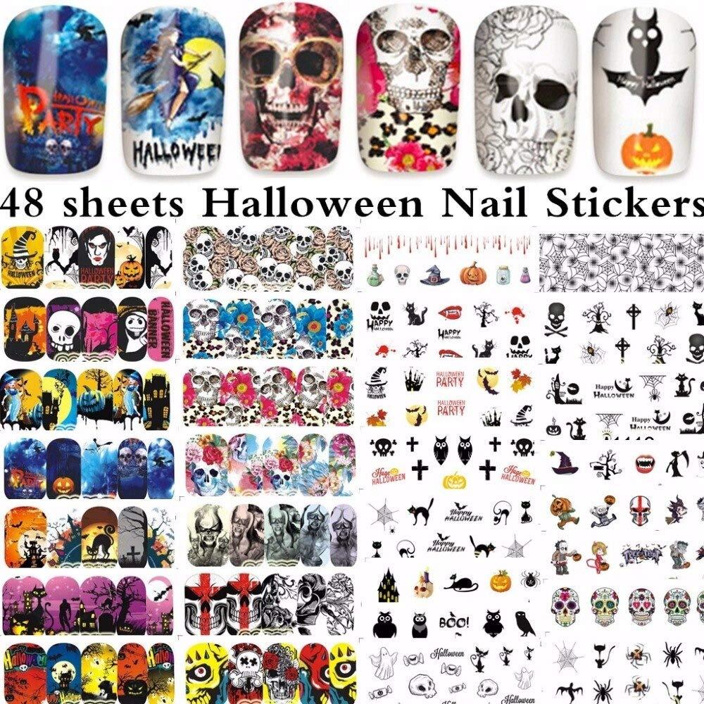 48 sheets mixed designs Halloween Nail Art Water Transfer decals NAIL STICKER SLIDER TATTOO Nail Accessories A1081-1128