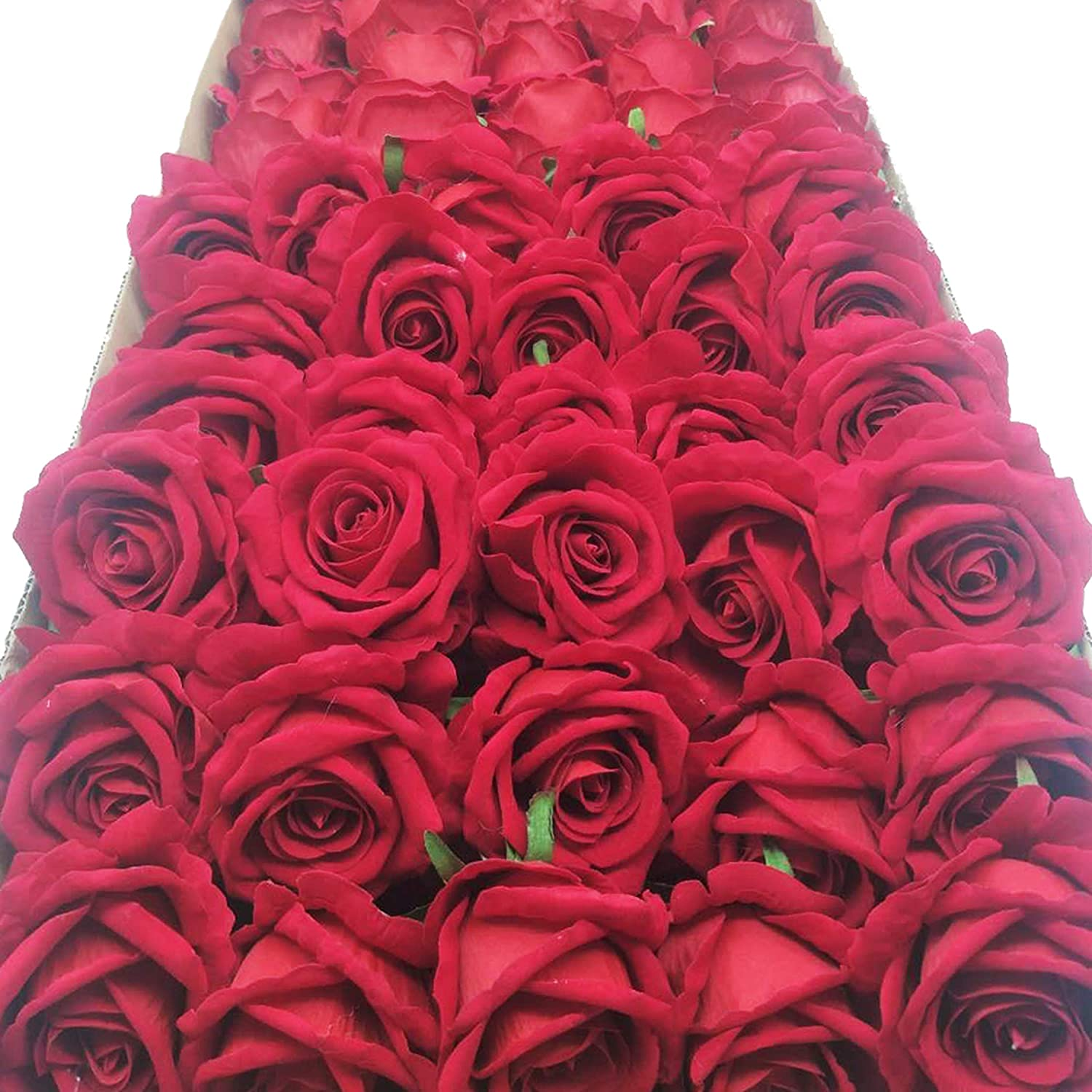 cn-Knight Artificial Flower in Bulk Wholesale 100pcs 10'' Velvet Silk Rose with Wire Stem Real Looking Fake Flower for Wedding Bouquet Bridal Shower Home Décor Flower Wall Hair Flower Hat Trim (Red)