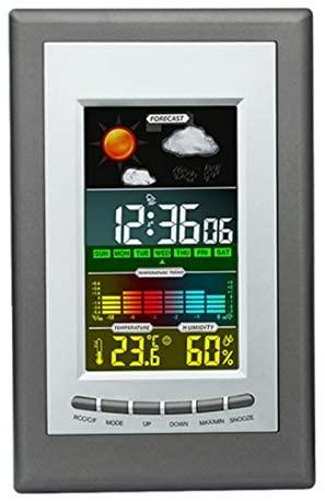 Odeal Weather Electronic Clock, Color Screen Weather Clock, Temperature and Humidity Alarm Clock, Digital Calendar Clock