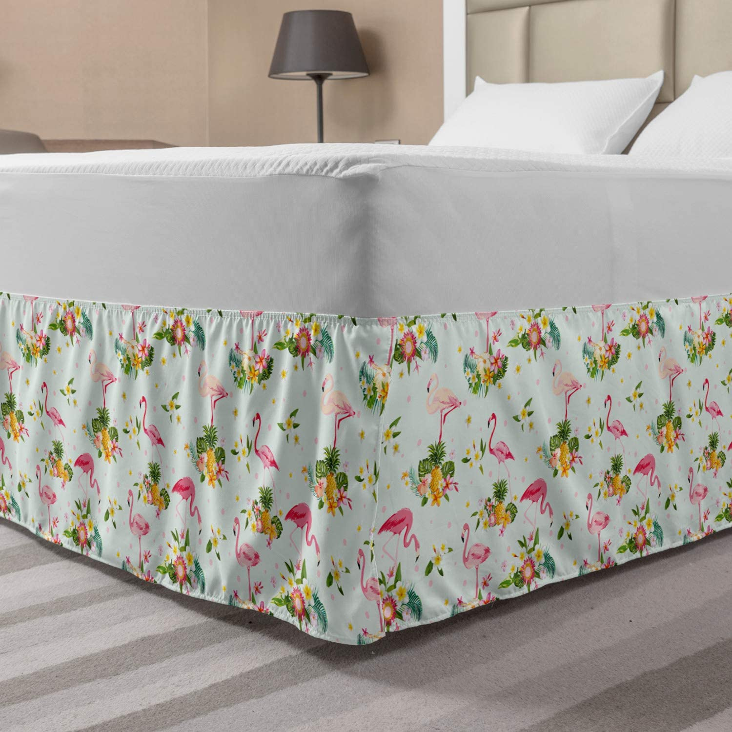 Ambesonne Flamingo Elastic Bed Skirt, Flourishing Fresh Flowers with Pineapples and Dots Retro Style Birds Romantic, Wrap Around Fabric Bedskirt Dust Ruffle for Bedroom, King, Pink Teal