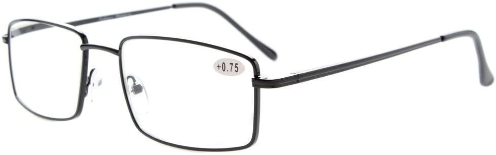 Eyekepper Readers Rectangular Spring Temple Large Metal Reading Glasses Men Black +2.0