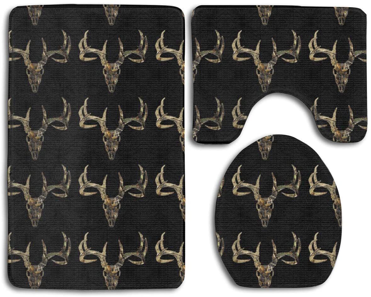 NiYoung 3 Pieces Bathroom Rugs Carpets Set, Absorbent Non-Slip U-Shaped Toilet Rug Toilet Seat Cover Mat and Bath Rug for Tub, Shower and Bathroom, Hunting Deer Head Camoflauge Black