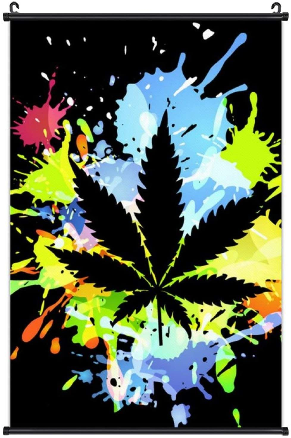 Wall Decor Canvas Prints Abstract Geometry Pictures Poster Hangs A Picture Ready to Hang for Home Walls Room Decor 16x24 Inches (Splash Ink Marijuana Weed Cannabis Leaves Black)