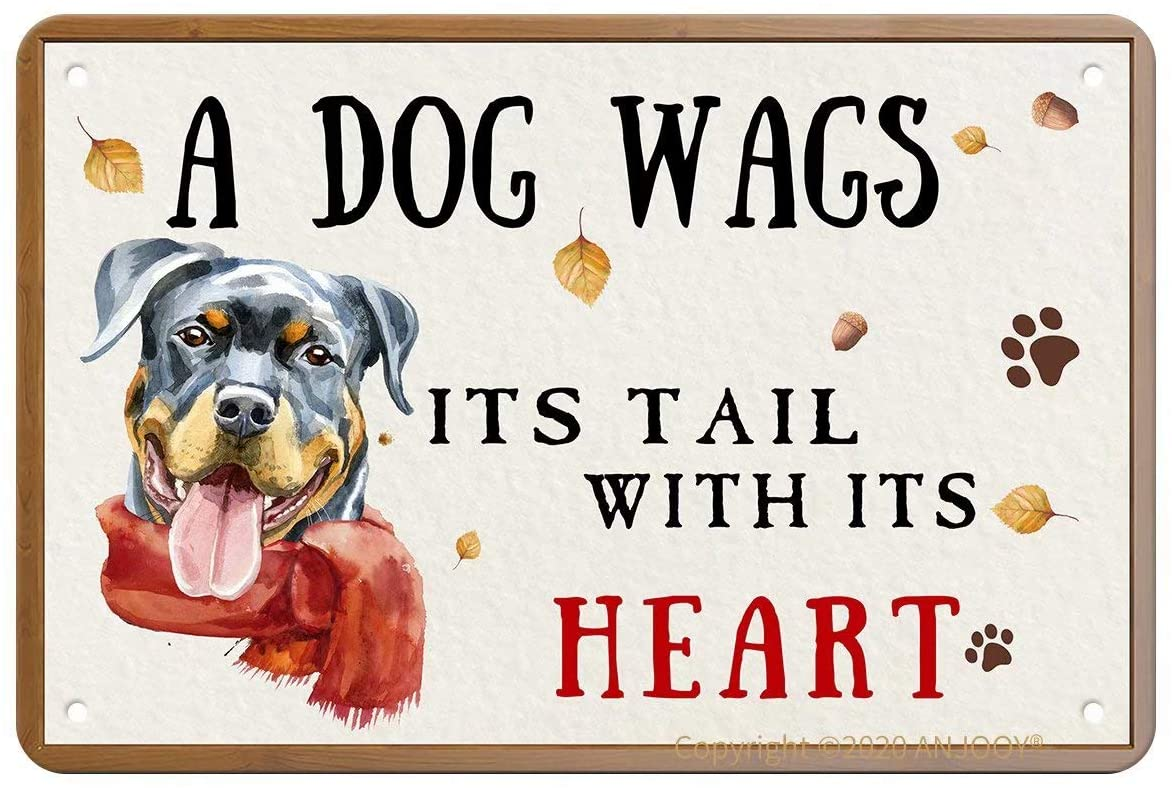 Vintage Metal Tin Signs - A Dog Wags Its Tail with Its Heart - Aluminum Sign for Cafe Home Bar Pub Garage Hotel Garden Wall Decor Art
