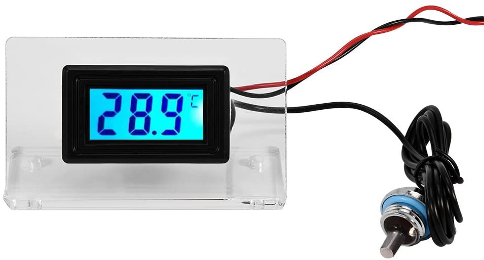 Richer-R Water Cooling Temperature Detector, PC Computer Water Cooling Temperature Detector Digital/Dial Thermometer LCD Screen Frame Kit(Digital Thermometer)