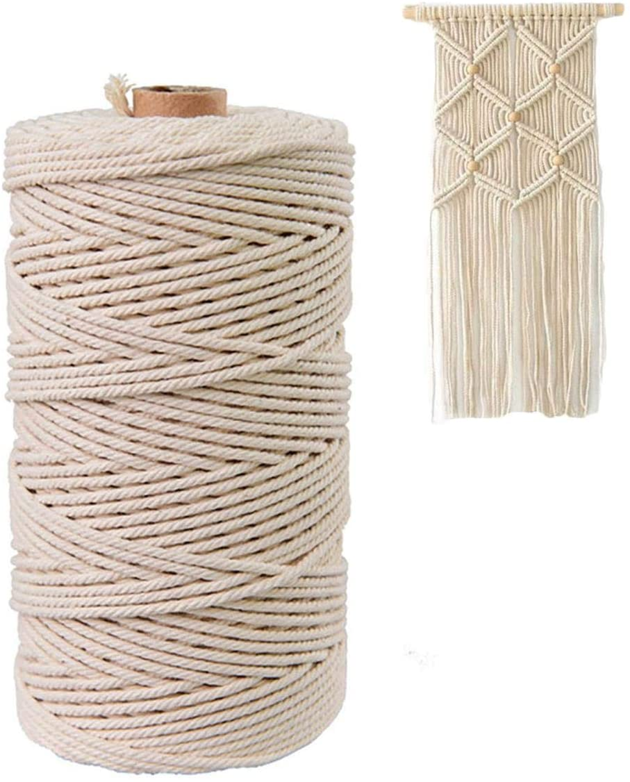 Macrame Cord 3mm x 328 Feet,100% Natural Cotton Rope String,Cotton Cord Twine for Wall Hanging Plant Hangers Crafts Knitting Decorative Projects Soft Cotton Rope Natural-3-100 MS6