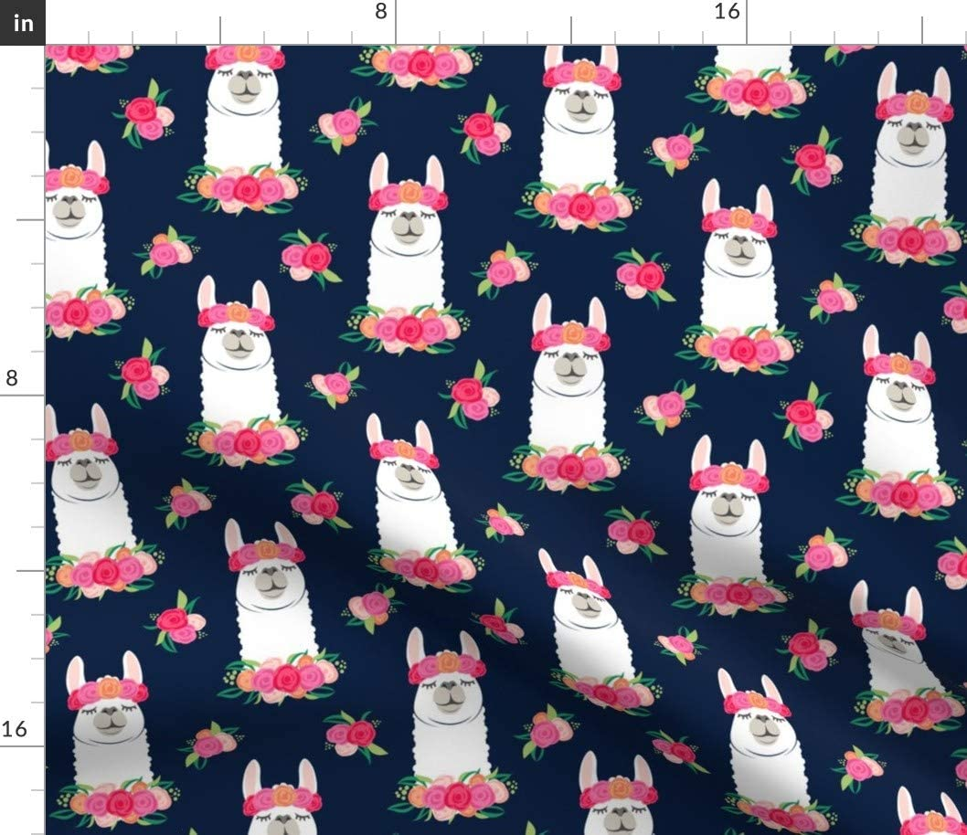 Spoonflower Fabric - Floral Llama Spring Colors Navy Alpaca Flowers Crown Printed on Petal Signature Cotton Fabric by The Yard - Sewing Quilting Apparel Crafts Decor
