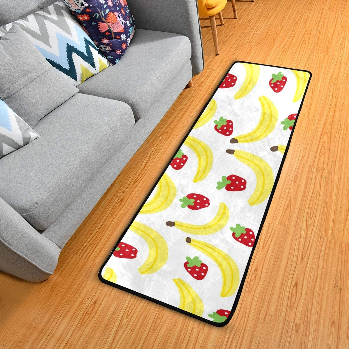 Kitchen Rugs Non-Slip Soft Doormats Banana And Strawberry Large Bath Mat Carpet Area Rugs for Living Room Bedroom Rug 72