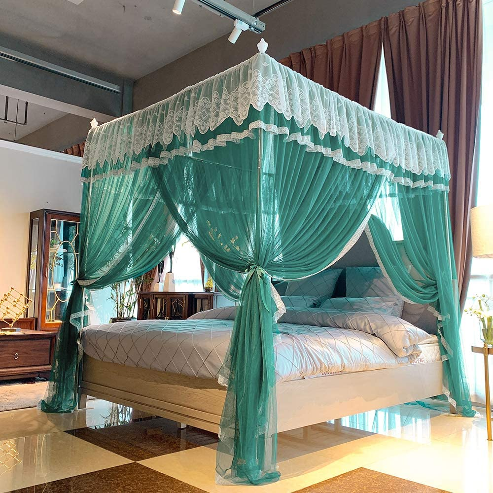 Joyreap 4 Corners Lace Canopy Bed Curtain for Girls & Adults - Royal Luxurious Cozy Drape Netting - 4 Opening Mosquito Net - Cute Princess Bedroom Decoration Accessories(Dark Green, King)