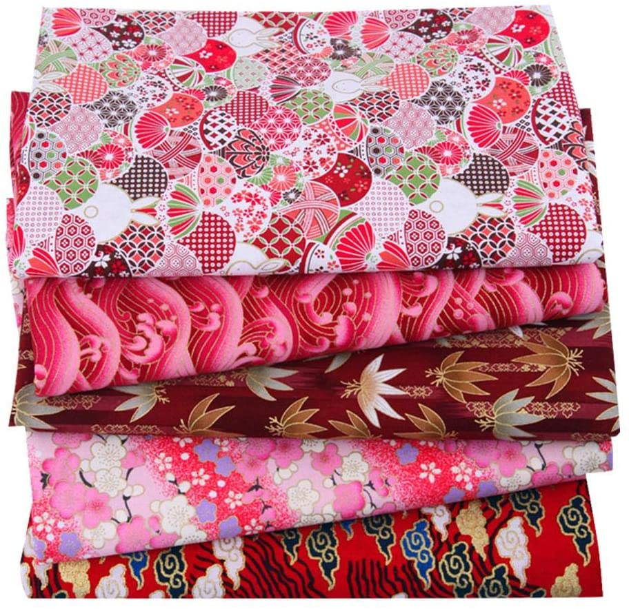 Interesty 5PCS Printed Cotton Fabric for Patchwork, Sewing Tissue to Patchwork,Quilting Squares Bundles