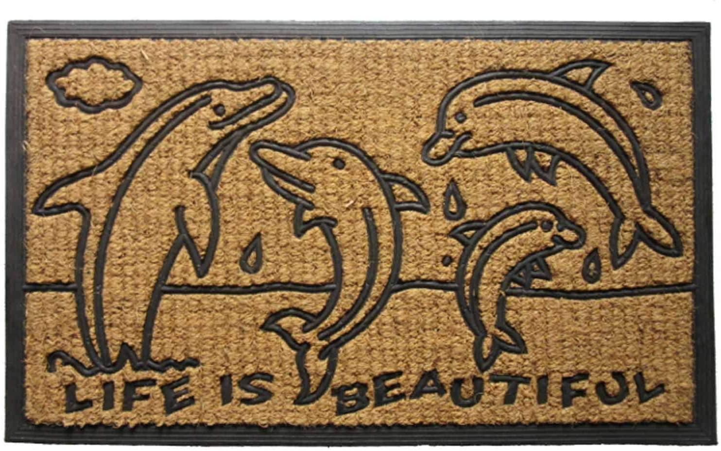 DOORMATS - POD of Dolphins Rubber Backed Coir Doormat - 18