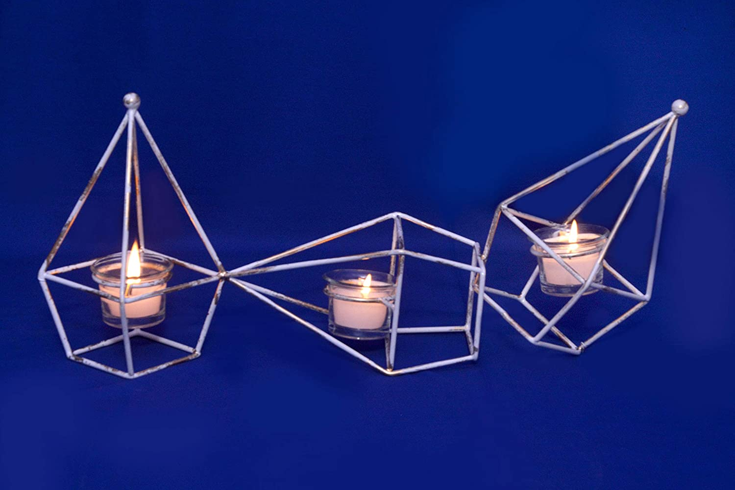 Decorative India Hut Design Three Tea Light Candle Holder with Glass Votive for Decoration at Home,Lounges,Hotel and All Types Parties.