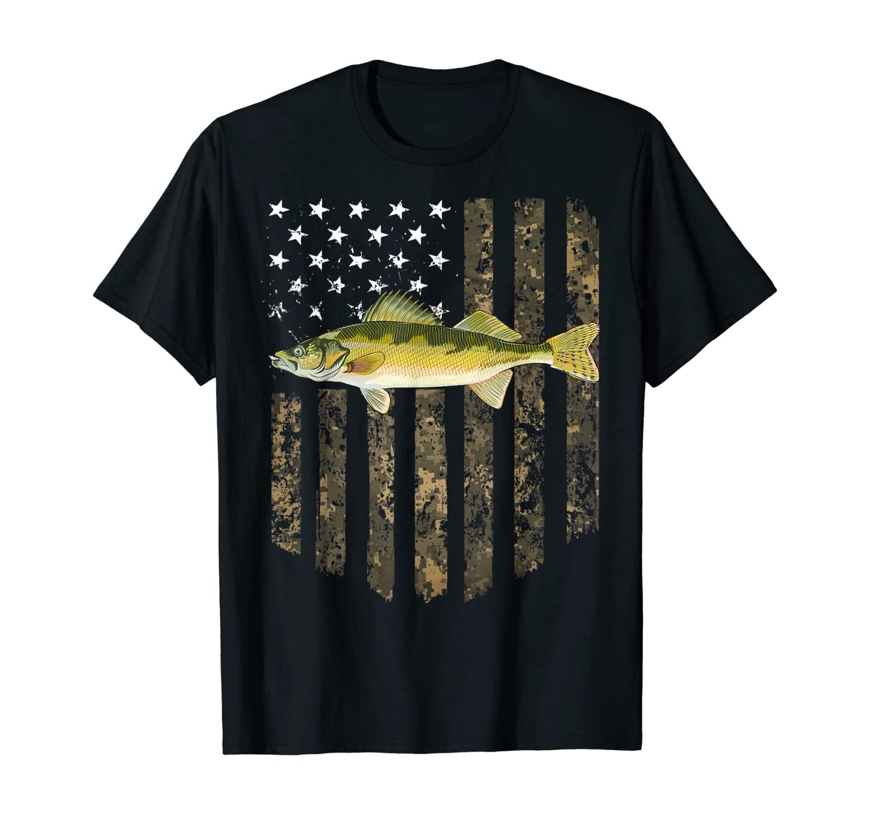 Camo American Flag Walleye Fishing 4th Of July T-Shirt