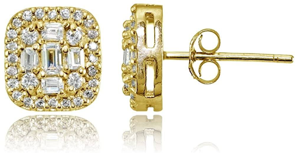 Sterling Silver Cubic Zirconia Baguette and Round Cut Stud Earrings