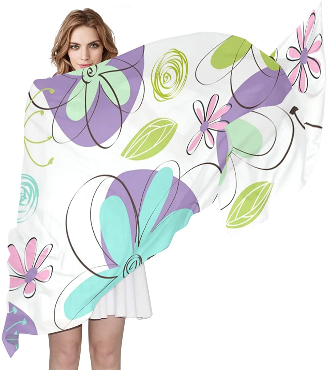 Long Scarf EELa Scrves Women Polyester Lightweight Soft Printed Floral Purple Fashion Wrap Shawl Spring Winter 70x35 inches