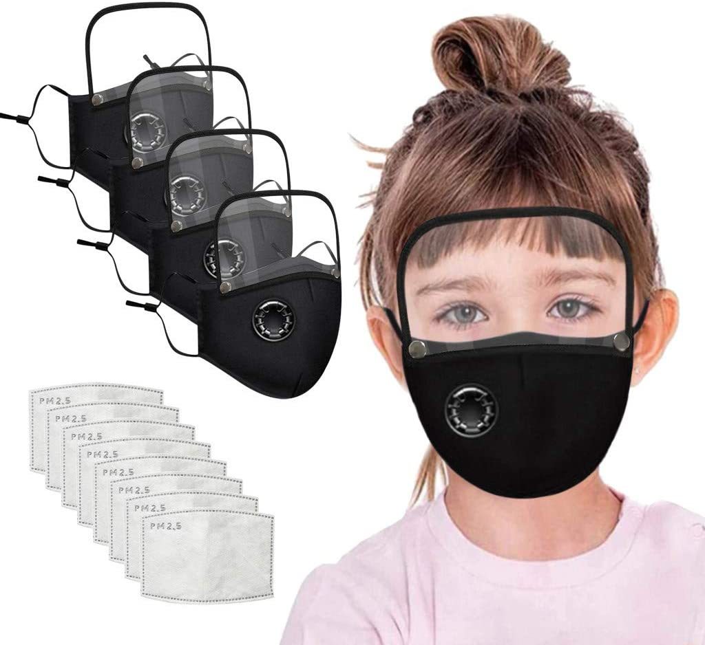 4PC Reusable Adjustable Dust-Proof Cotton Child Face Shields with 8PC Activated Carbon Gasket,with Goggles,for Go to School,Outdoor Activities,Mall,Indoor and Outdoor Use (Black)