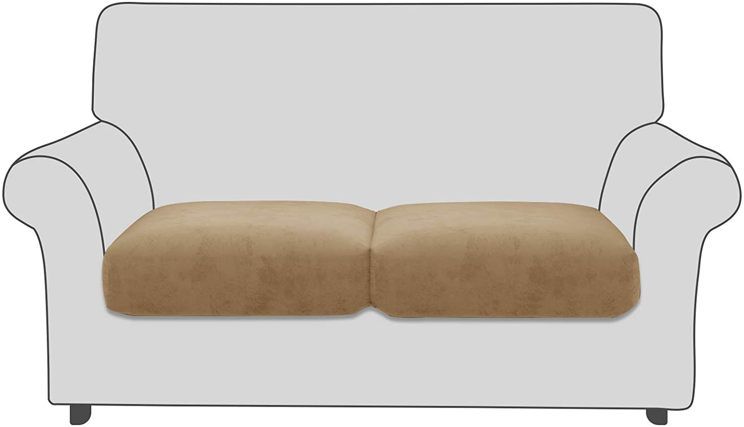 MAXIJIN Velvet Stretch Cushion Covers Fitted Plush Couch Cushion Slipcovers 2 Pack Loveseat Couch Cushion Covers for Individual Cushions with Elastic Bottom (Loveseat Cushion, Camel)