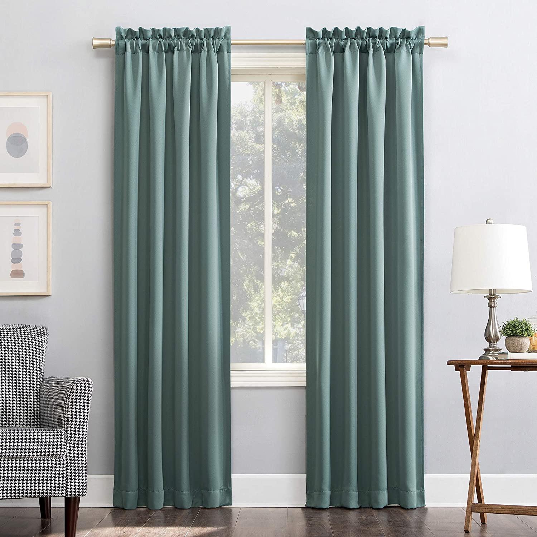 Sun Zero Easton Energy Saving Blackout Rod Pocket Curtain Panel, 40