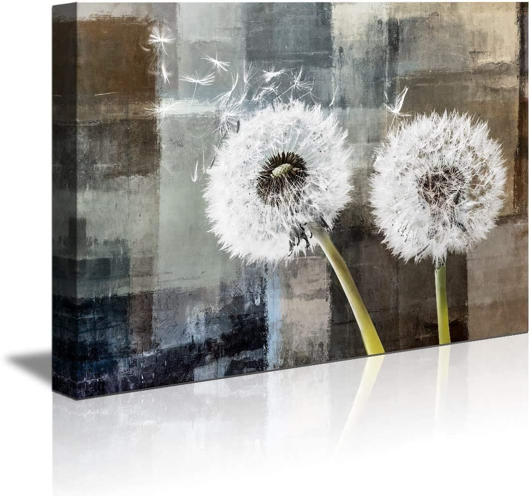 abstract Wall Art Black and white Dandelion Wall decor for Living Room Blue Floral Picture on Wood Background Canvas Prints Artwork for Home Decor 16x24 Inch Wood Grain Watercolor Paintings Ready to H