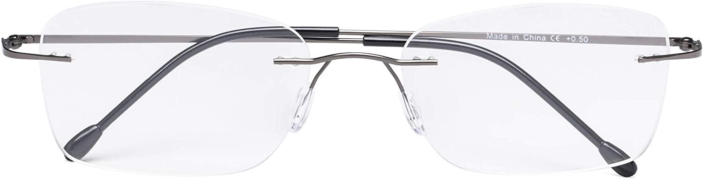 CessBlu Rimless Reading Glasses Design Readers for Women Men