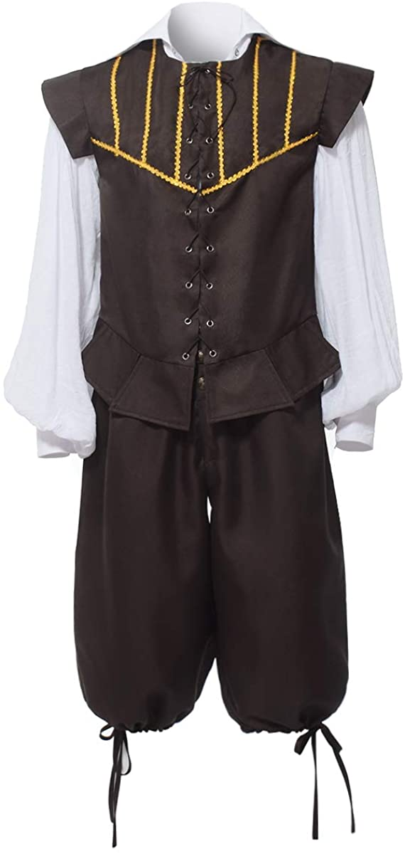 BPURB Mens Renaissance Costume 3 Pc Doublet Costume with Poet Shirt, Vest and Breeches for Madrigal Dinner/Party