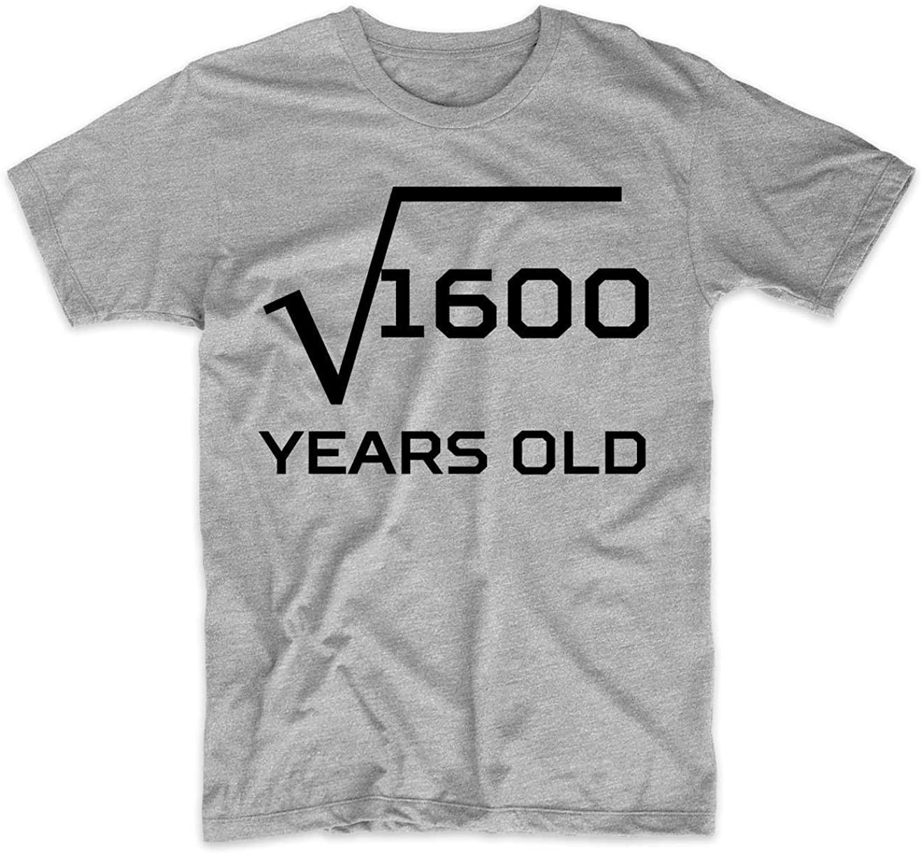 40th Birthday Shirt Square Root 40 Years Old Math Men's T-Shirt