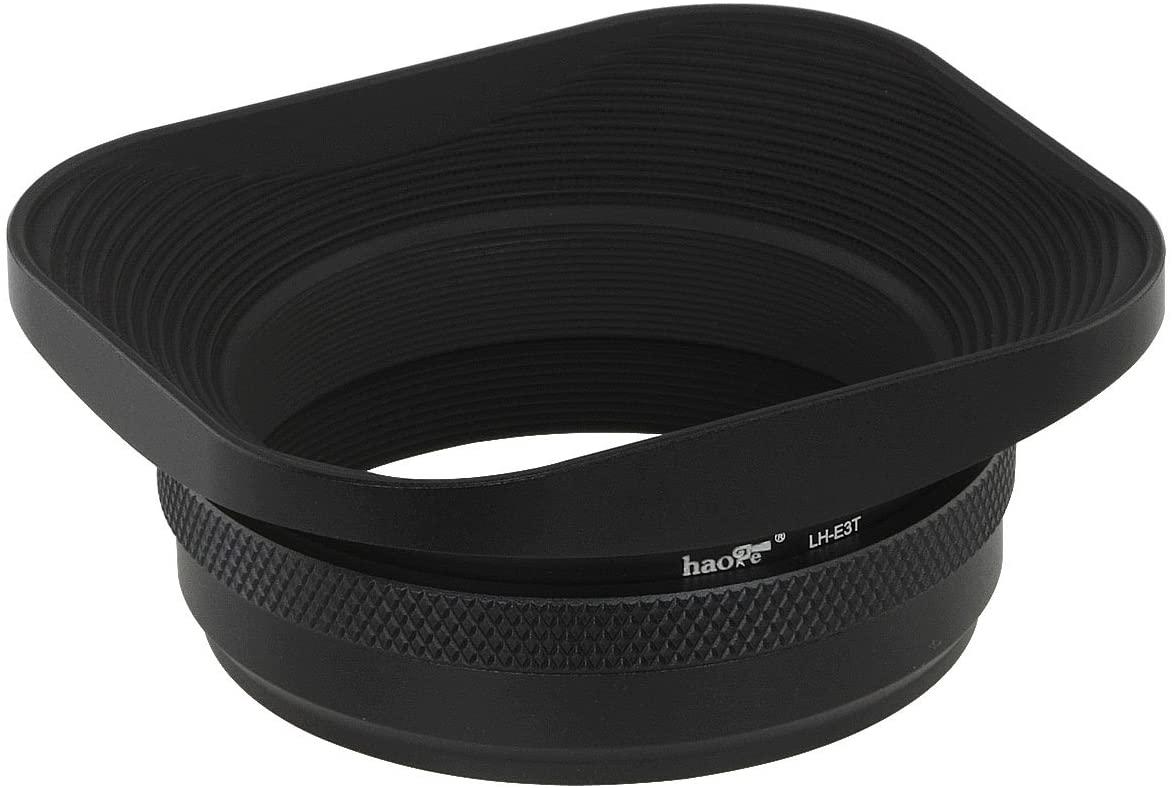 Haoge LH-E3T Square Metal Lens Hood Shade with 49mm Adapter Ring for Fuji Fujifilm FinePix X100 X100S X100T X70 X100F X100V Camera Replaces Fujifilm LH-X100 AR-X100 LH-X70