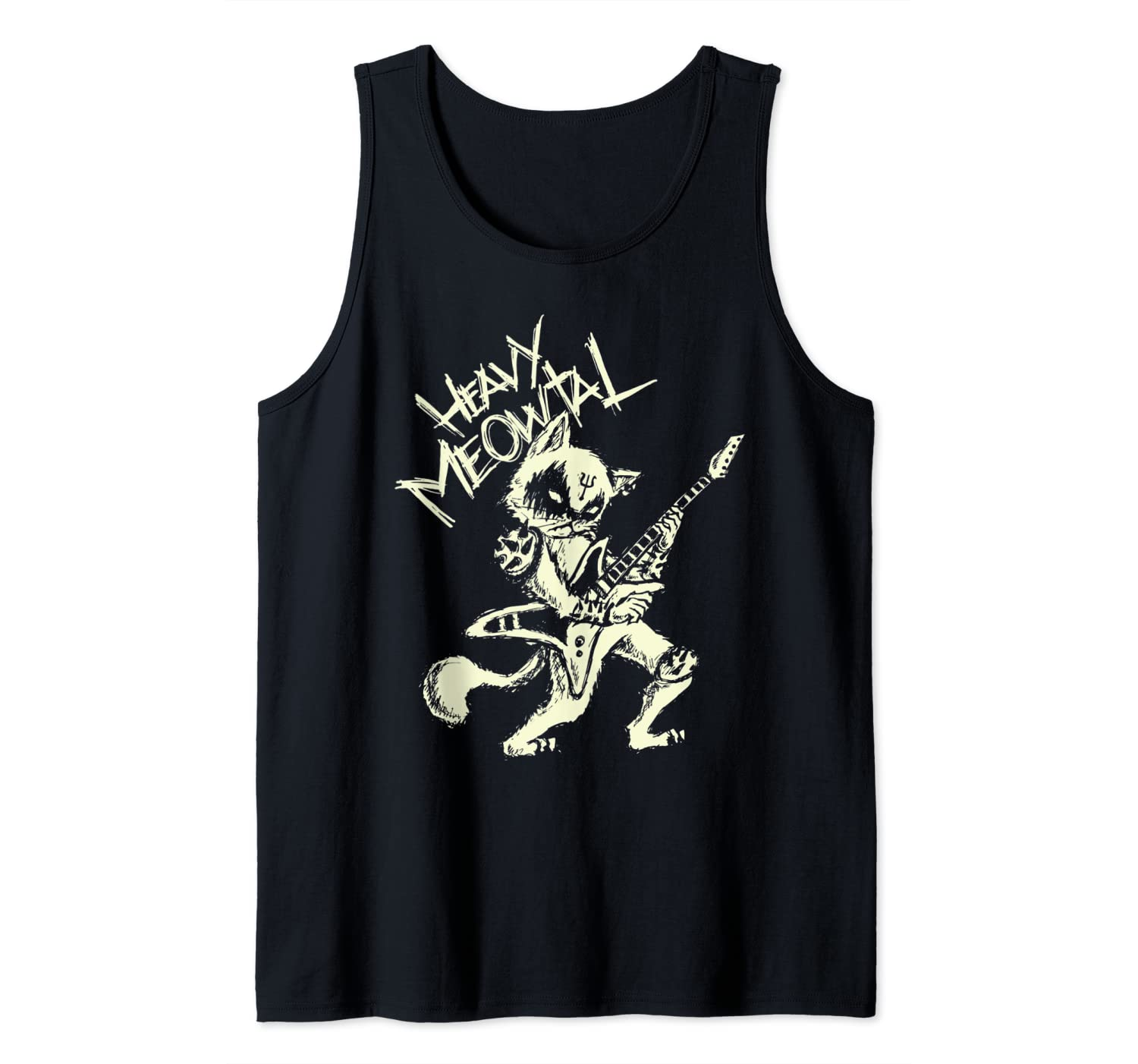 Heavy Metal Cats Gift Clothing Guitar Playing Cat Gothic Tank Top