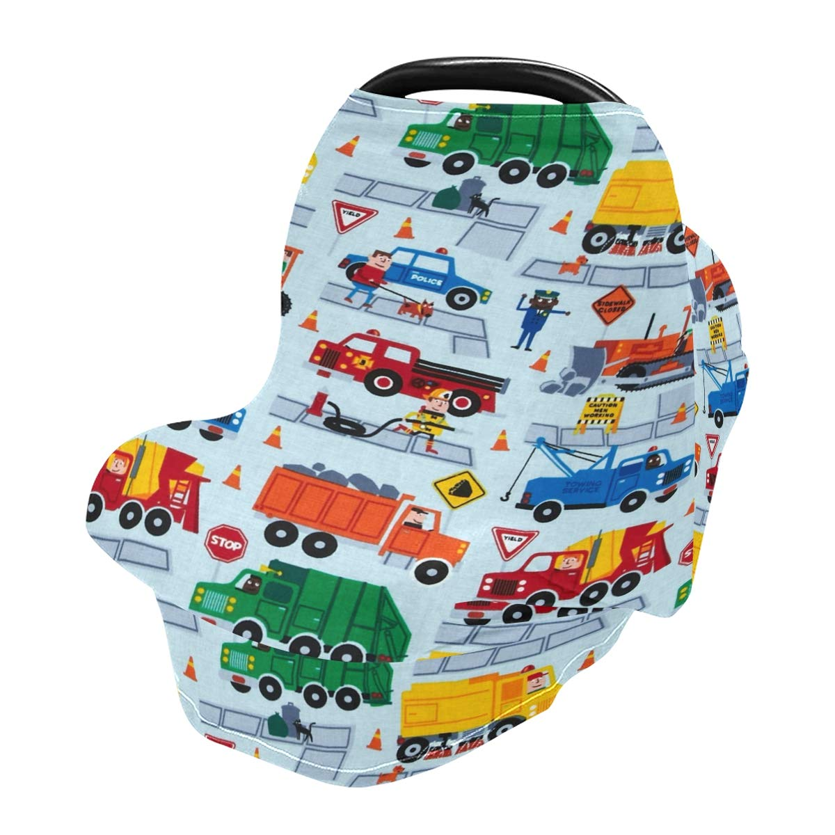 Nursing Cover Breastfeeding Scarf Cartoon Cars- Baby Car Seat Covers, Infant Stroller Cover, Carseat Canopy for Girls and Boys(h)