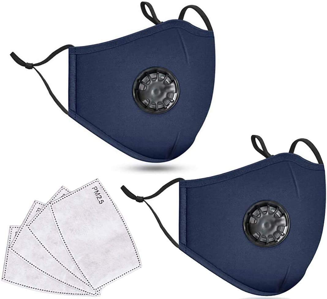 Dust_mask Reusable Fashion Adjustable Mouth_mask with Activated Carbon Filter Replaceable and Breathing Valve for Adults (2 Pack Navy)