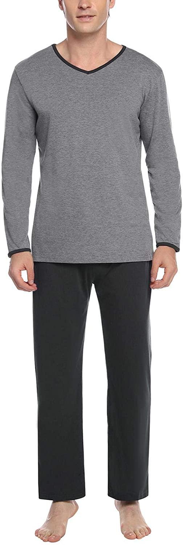Abollria Men's Cotton Pajama Sets Long Sleeve Tops and Pajama Bottoms with Pockets V Neck Sleepwear