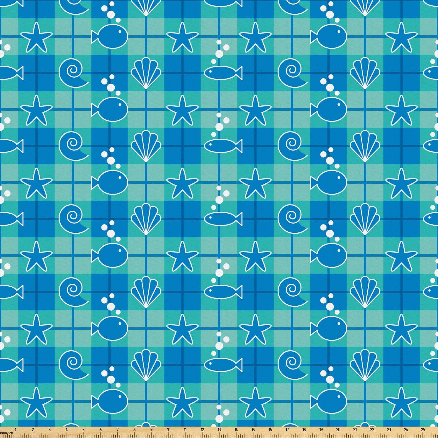Ambesonne Sea Shells Fabric by The Yard, Plaid Pattern with Cartoon Marine Silhouettes Fish Starfishes Bubbles, Microfiber Fabric for Arts and Crafts Textiles & Decor, 3 Yards, Mint Green Blue White