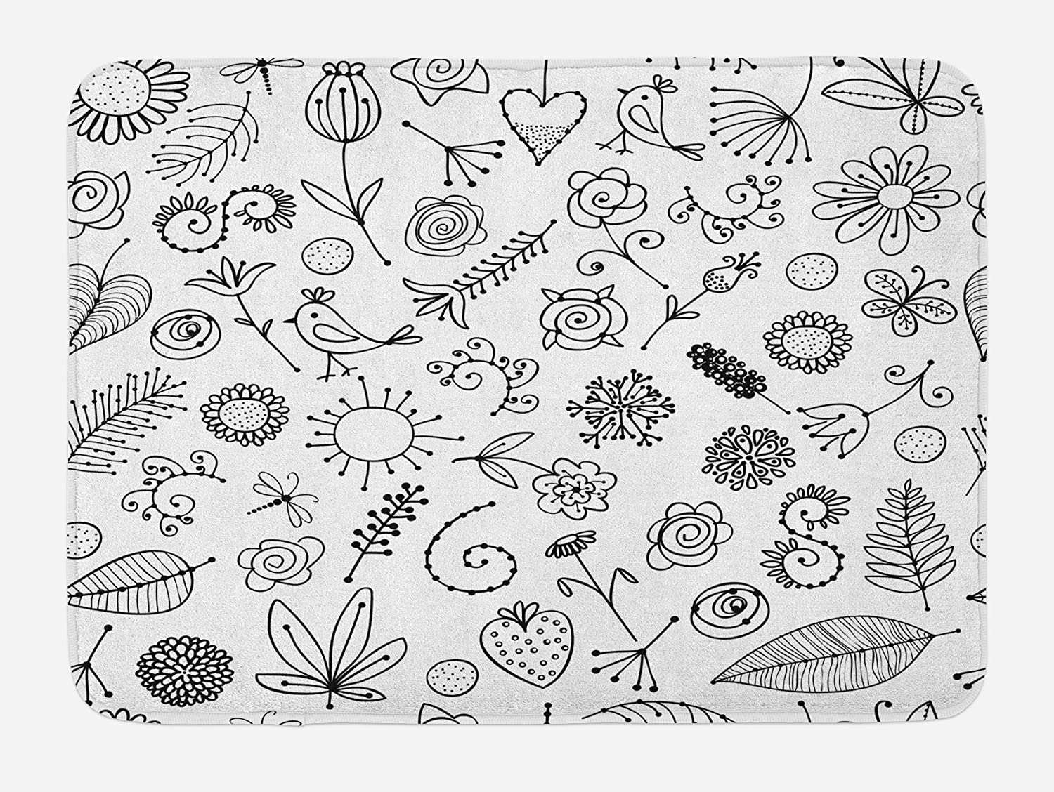 Ambesonne Leaf Bath Mat, Things from Nature in Sketch Form Birds Flowers Strawberry Sunflower Ferns Print, Plush Bathroom Decor Mat with Non Slip Backing, 29.5
