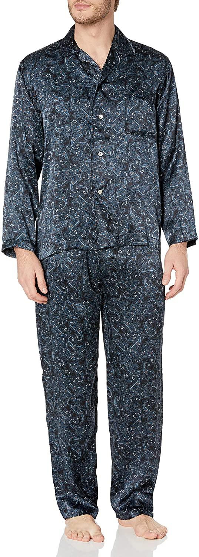 Intimo Men's Printed Silk Pajama Gift Set, Navy