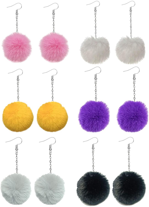 6 Pairs Pom Pom Dangle Earrings Faux Fur Ball Earrings for Women Girls Christmas Ball Earrings
