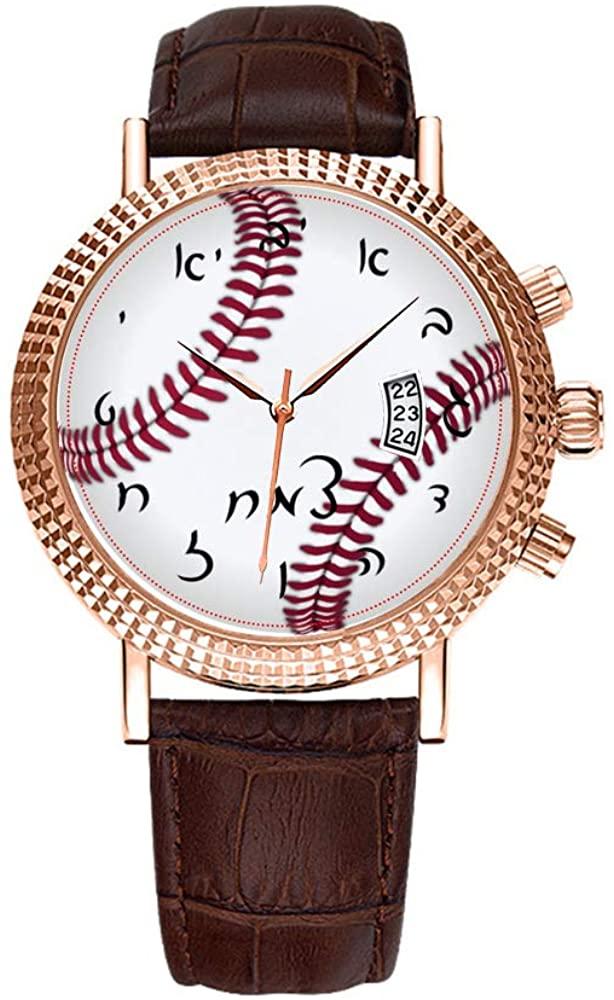 Men Watch Luxury Business Men Watch Fashion Roman Waterproof Men's Watch Leather Calendar Clock Christmas Watch Tzemach's Baseball Time Wrist Watch