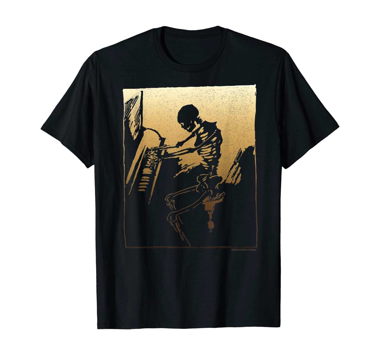 Vintage and Creepy Piano Playing Skeleton T-Shirt